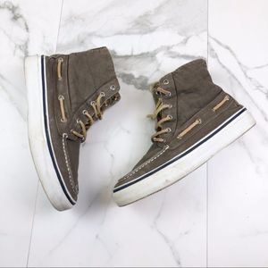 Sperry- Taupe High Top Casual Boat Shoes